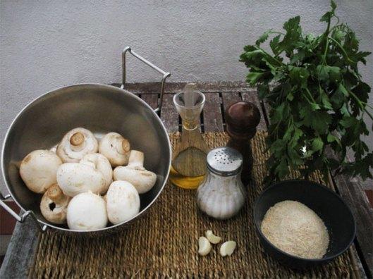 champiñones rellenos gratinados al horno - ingredientes